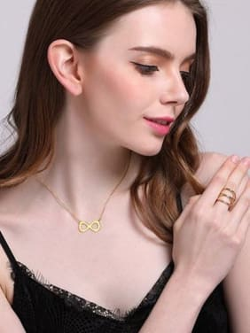 All-match Gold Plated Number Eight Shaped Titanium Necklace