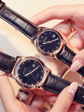 GUOU Brand Simple Numberless Lovers Watch