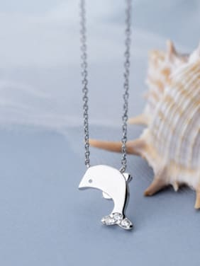 925 Sterling Silver With Silver Plated Simplistic Fish Necklaces