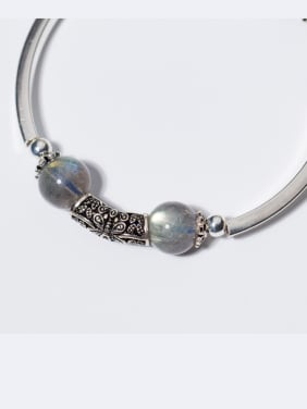 925 Sterling Silver With Silver Plated and moonstone & strawberry crystals Add-a-bead Bracelets