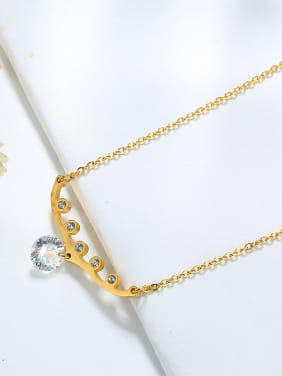 Fashionable Gold Plated Geometric Shaped Zircon Necklace