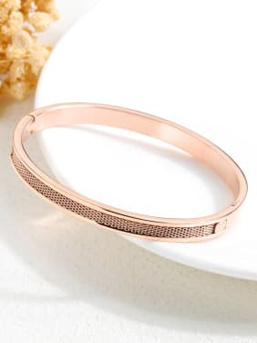 Stainless Steel With Rose Gold Plated Simplistic Round with love words Bangles