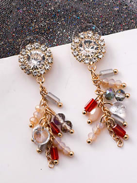 Alloy With Rose Gold Plated Ethnic Round Flower Tassel  Drop Earrings