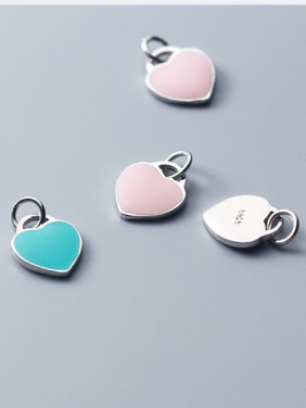 925 Sterling Silver With Platinum Plated Simplistic Heart Charms