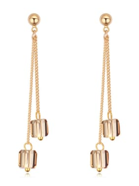 Fashion Swarovski Crystals Gold Plated Alloy Drop Earrings