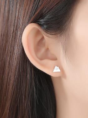 925 Sterling Silver With Glossy  Simplistic Asymmetry Triangle Stud Earrings