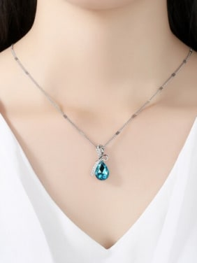 Fashion Water Drop Crystal Pendant Copper Necklace