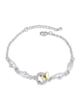 Simple Butterfly Swarovski Crystals Platinum Plated Bracelet