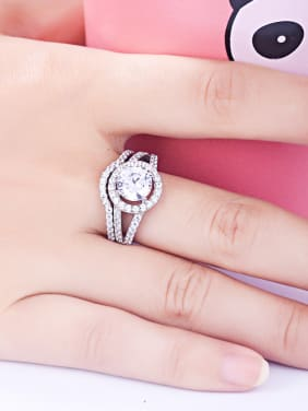 925 Sterling Silver With Cubic Zirconia Delicate Round Stacking Rings