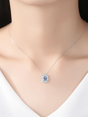 925 Sterling Silver With  Cubic Zirconia  Delicate Oval Necklaces