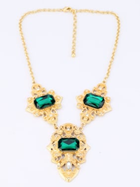 Personality Green Stones Alloy Necklace