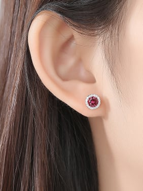 925 Sterling Silver With Cubic Zirconia  Delicate Round Stud Earrings