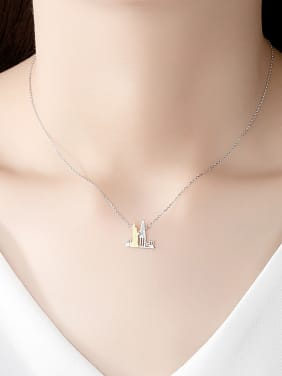 925 Sterling Silver With Two-color Plated Personality Irregular Necklaces