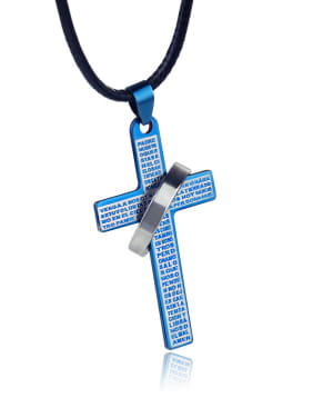 Stainless Steel With Black Gun Plated Classic Cross Necklaces
