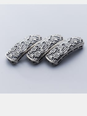 925 Sterling Silver With Antique Silver Plated flower Bent Pipe