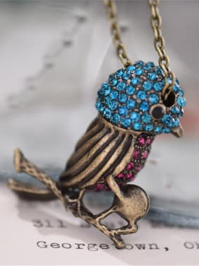 Retro Bird Shaped Zircon Necklace