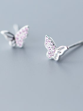 925 Sterling Silver With Cubic Zirconia  Cute Butterfly Stud Earrings