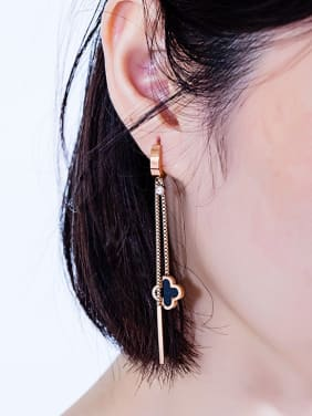 Stainless Steel With Rose Gold Plated Personality Flower Tassel Earrings