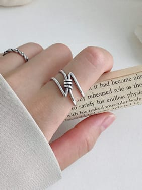 925 Sterling Silver With Antique Silver Plated Simplistic free size Rings