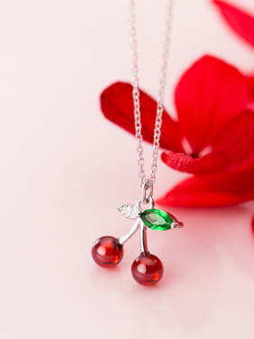 925 Sterling Silver With Platinum Plated Cute Cherry Necklaces