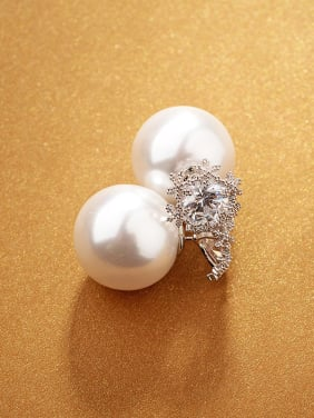 Simple snowflake double-sided Pearl micro-inlay zircon Earring