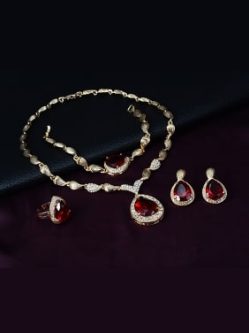 Alloy Imitation-gold Plated Vintage style Water Drop shaped Ruby Four Pieces Jewelry Set
