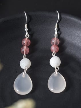 Retro style Natural Jade Water Drop 925 Silver Earrings