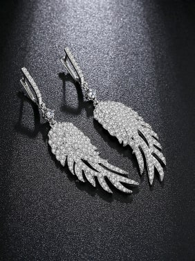 AAA zircon inlaid fashion Feather Earrings Gift