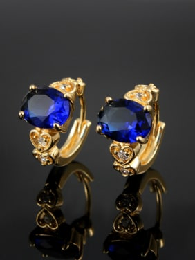 High Quality Blue 18K Gold Plated Zircon Clip Earrings