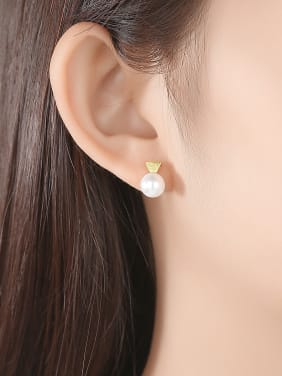 925 Sterling Silver With Artificial Pearl  Simplistic Triangle Stud Earrings