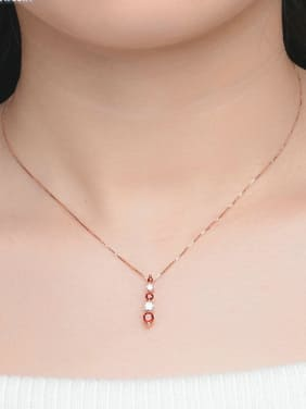 Luxury Long Rounds Garnet Zircon Silver Necklace
