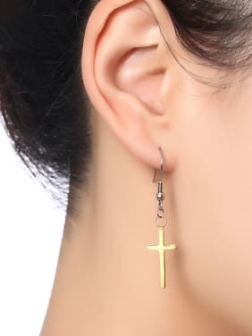 All-match Gold Plated Cross Shaped Titanium Drop Earrings