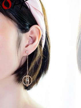 Titanium With Rose Gold Plated Personality Geometric Drop Earrings