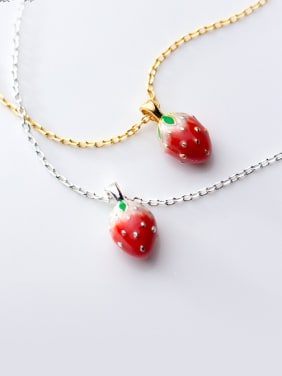925 Sterling Silver With Gold Plated Simplistic Friut Strawberry Necklaces