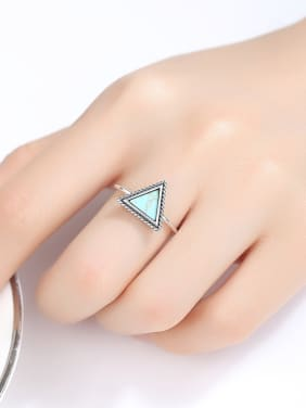 925 Sterling Silver With Platinum Plated Simplistic Triangle Free Size Rings