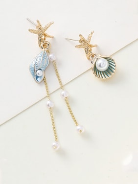 Stainless Steel With Imitation Gold Plated Cute Charm Tassels Earrings