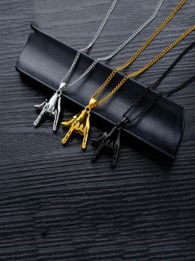 Stainless Steel With Glossy Rock Gesture  Men's  Pendants