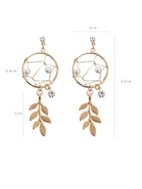 Alloy With Gold Plated Hip Hop Leaf Drop Earrings