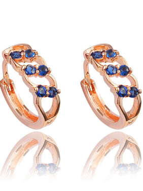 Exquisite Rose Gold Plated Blue Zircon Clip Earrings