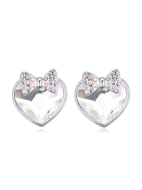 Fashion Heart Swarovski Crystal Little Shiny Bowknot Stud Earrings