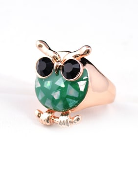Personalized Green Shell Black Rhinestones Owl Alloy Ring
