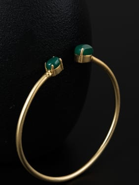 Retro style Green Jade 925 Silver Opening Bangle