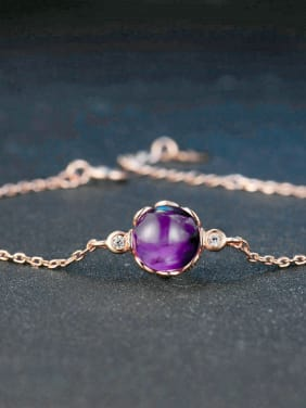 Simple Round Amethyst Rose Gold Plated Women Bracelet