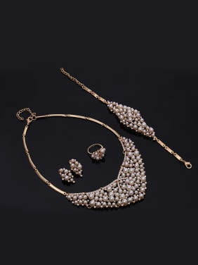 Alloy Imitation-gold Plated Fashion Artificial Pearls and Rhinestones Four Pieces Jewelry Set