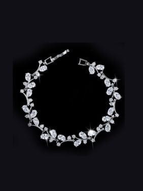 White Gold Plated Color Zircon Bracelet