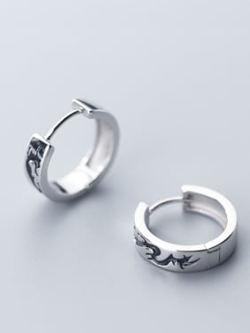 925 Sterling Silver With Silver Plated Personality Round Black Cloud Clip On Earrings