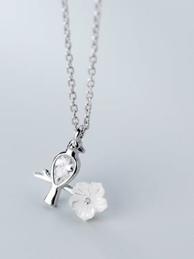 925 Sterling Silver With Platinum Plated Cute Little Bird Flower Necklaces