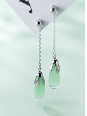 925 Sterling Silver With Platinum Plated Simplistic Water Drop Drop Earrings