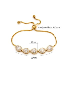 Copper With Gold Plated Simplistic Water Drop adjustable Bracelets