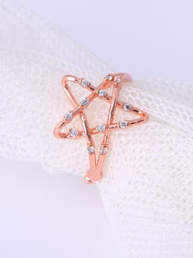 Rose Gold Plated Star Shaped Rhinestone Ring